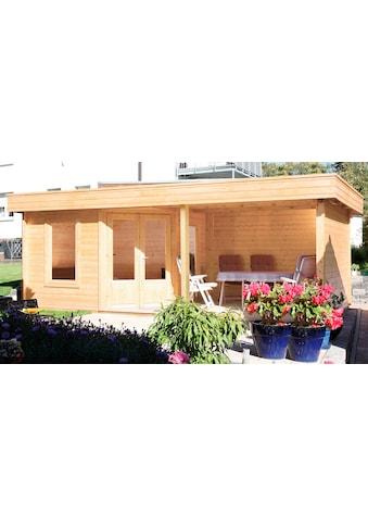 WOLFF FINNHAUS Set: Gartenhaus »Maja 40 - A«, BxT: 699x349 cm, inkl. Fußboden und Anbaudach mit Rückwand kaufen
