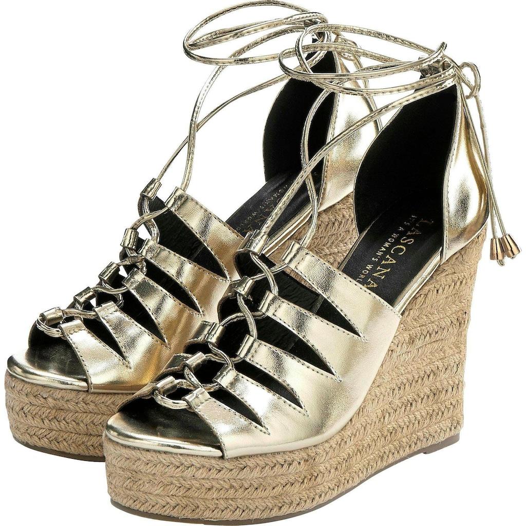 LASCANA High-Heel-Sandalette, mit Keilabsatz im Bast-Look