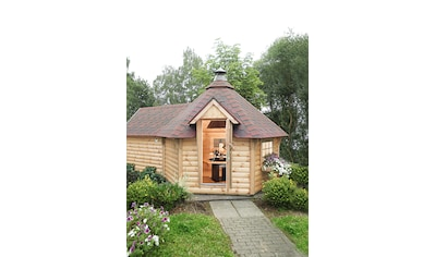 WOLFF FINNHAUS Grillkota »9 de luxe«, BxT: 426x630 cm, mit Sauna - Anbau und roten Schindeln kaufen