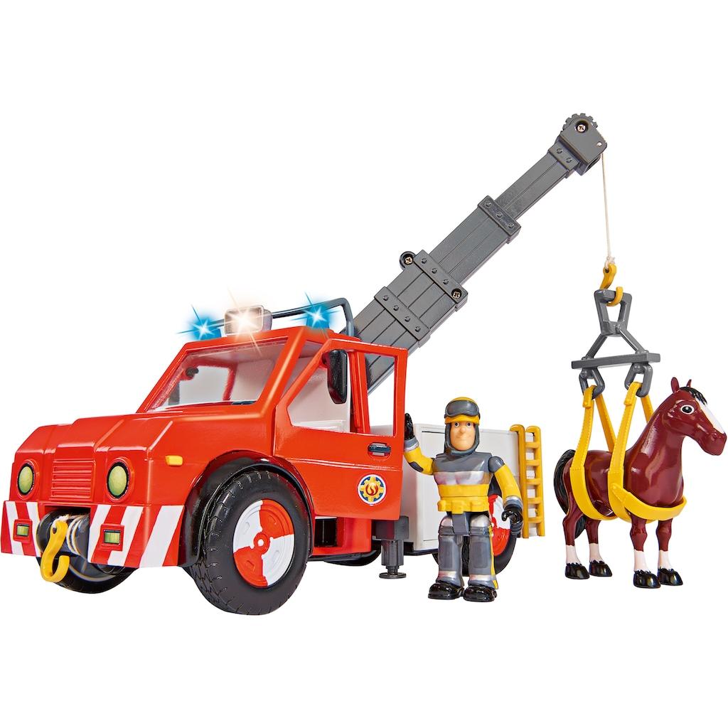 SIMBA Spielzeug-Kran »Feuerwehrmann Sam, Phoenix mit Figur, Pferd und Blaulicht«