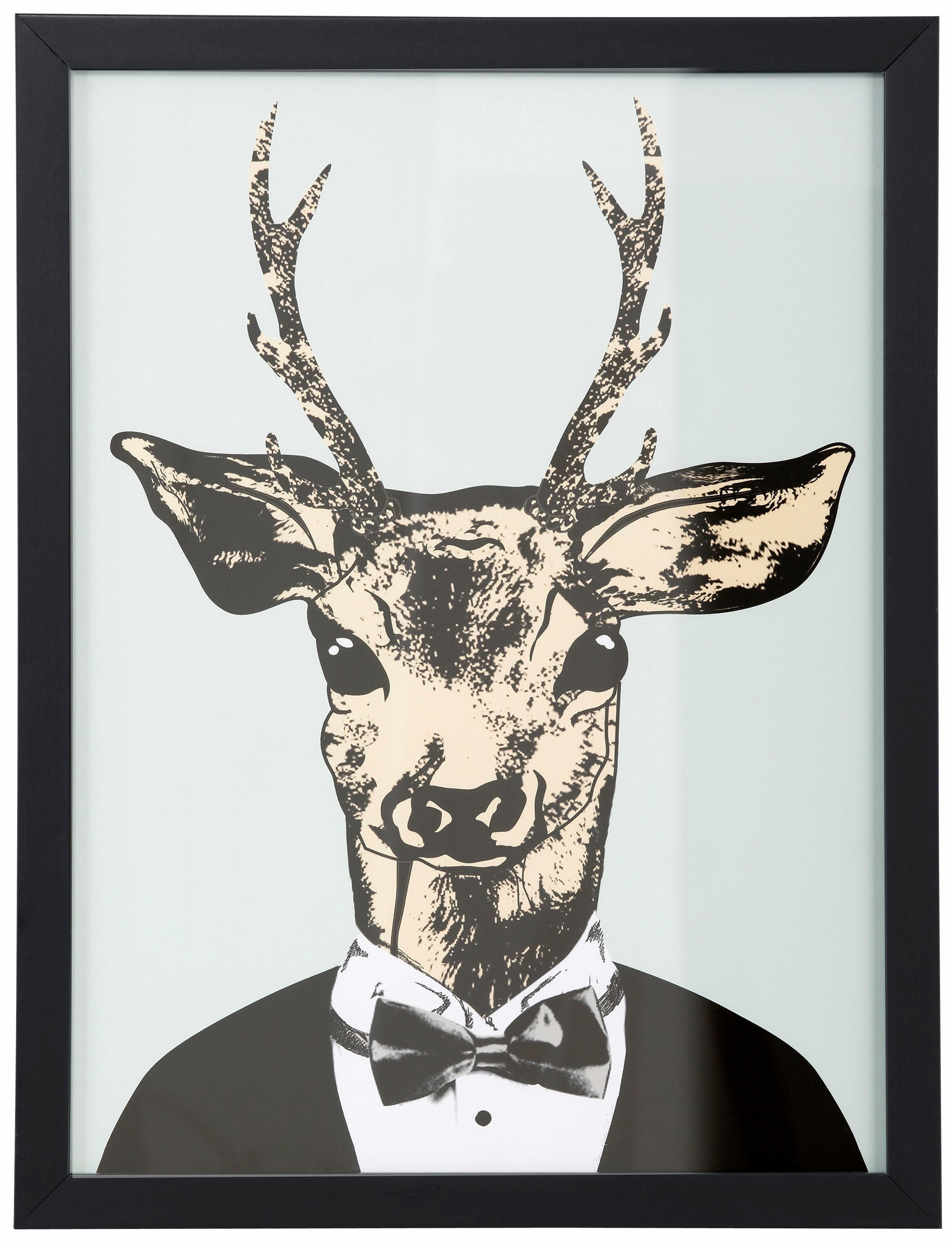 Home affaire Kunstdruck Reh in elegantem Anzug | Dekoration > Bilder und Rahmen > Poster | Grün | Glas | Home Affaire