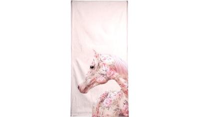 Juniqe Handtuch »Floral Horse«, (1 St.), Weiche Frottee-Veloursqualität kaufen