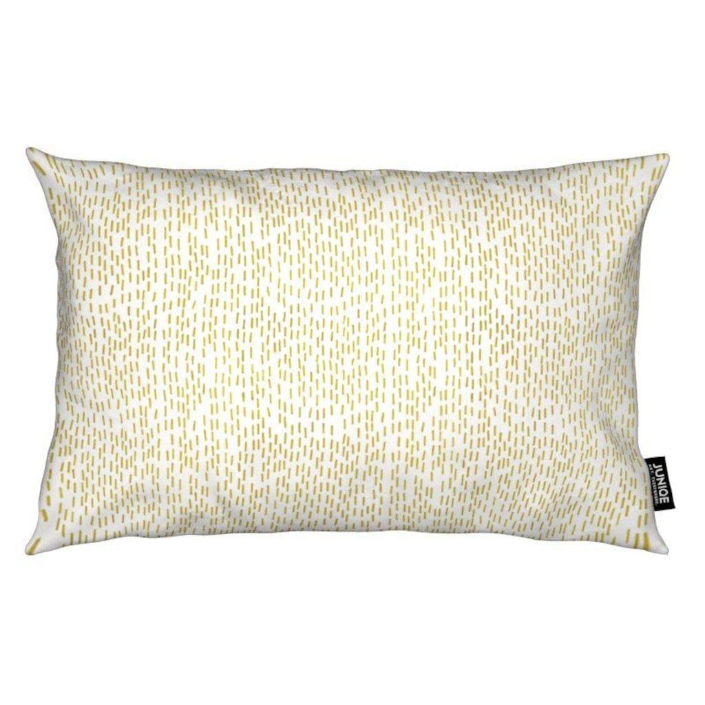 Juniqe Dekokissen »Gold Stripes«, Weiches, allergikerfreundliches Material