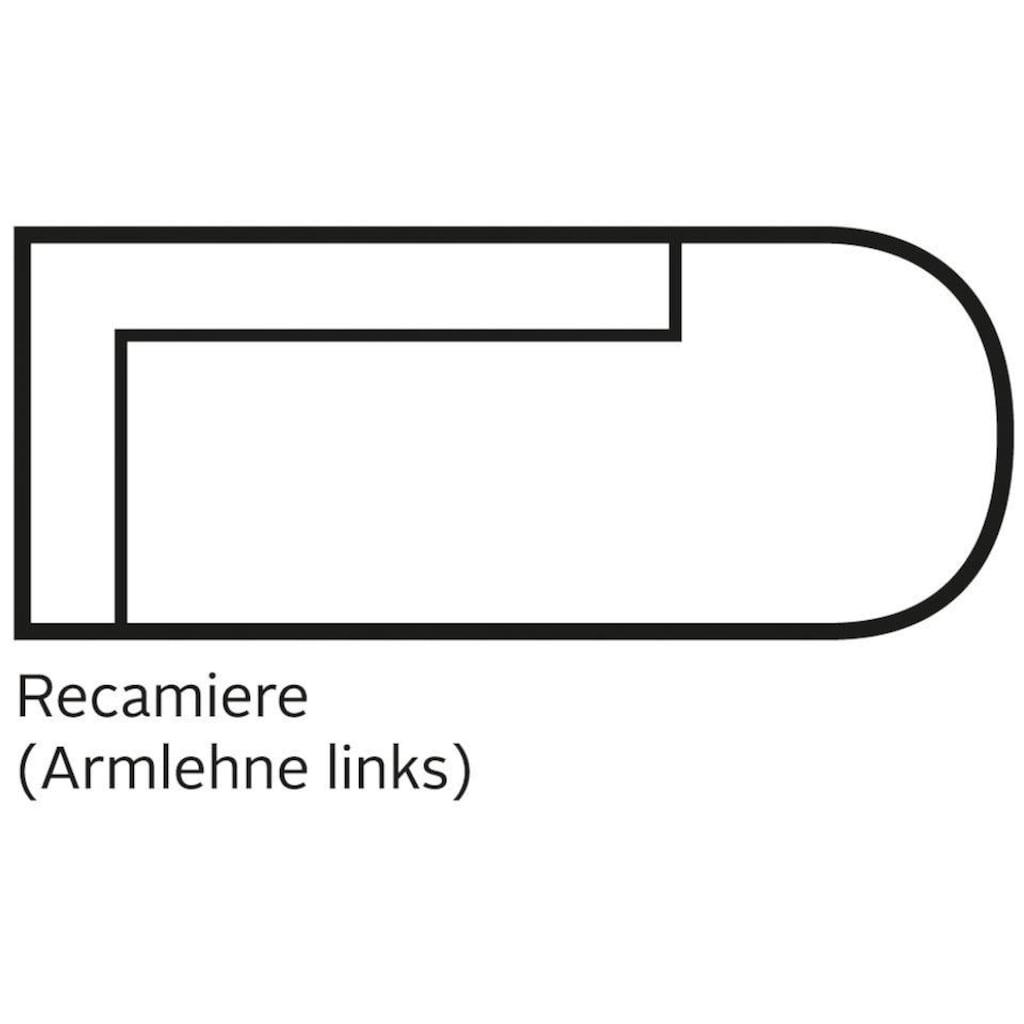 Leonique Recamiere »Cozy«, mit losen Kissen und Metallbeinen, Armlehne links oder rechts wählbar