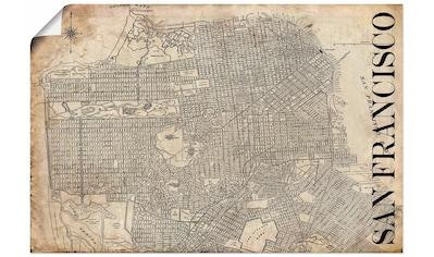 Artland Wandbild »San Francisco Karte Straßen Karte Grunge« kaufen