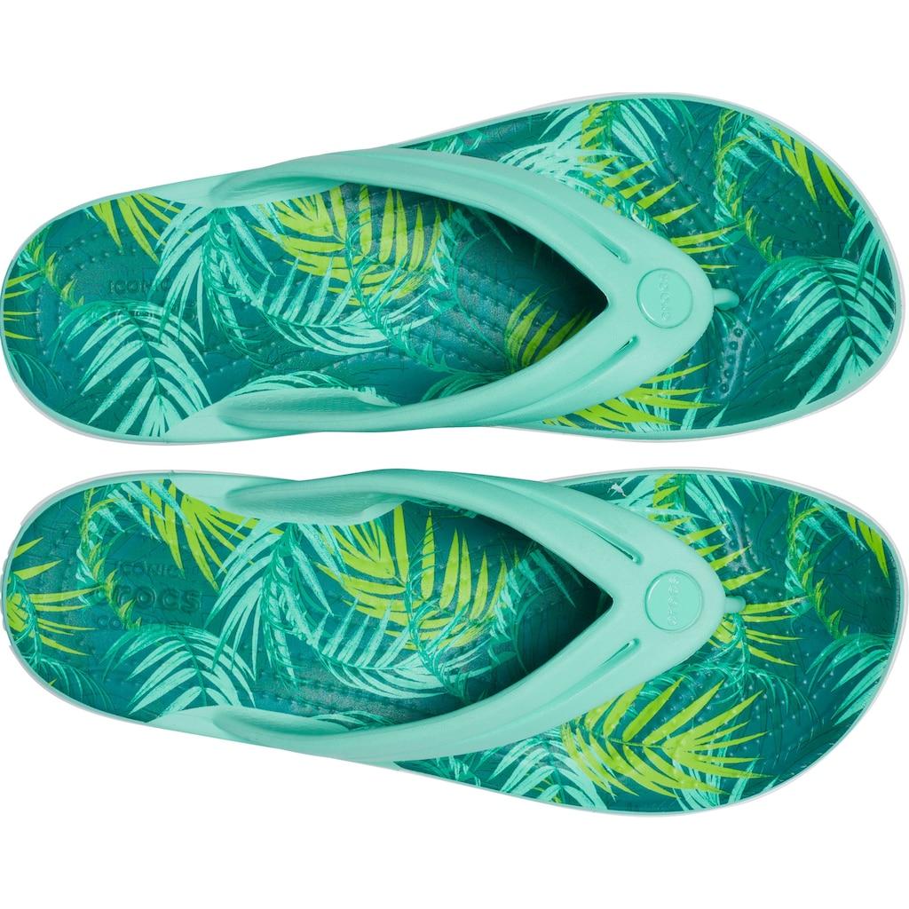 Crocs Zehentrenner »Crocband Tropical Flip W«, mit Palmen-Print