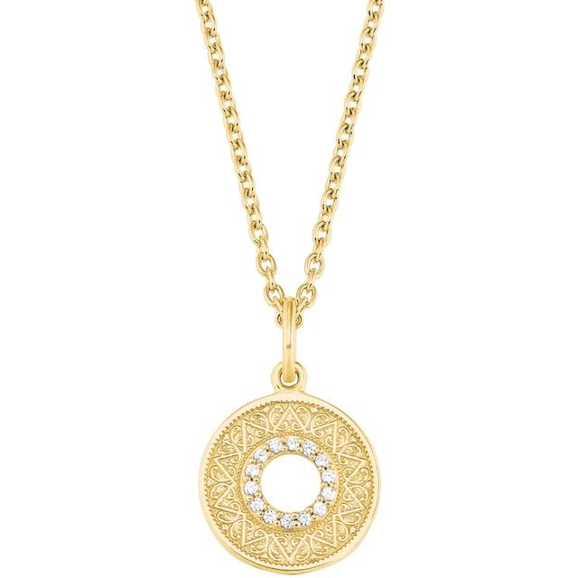 Edelstahl Ankerkette Anhänger rund Kette Damenkette rose gold Zirkonia modern