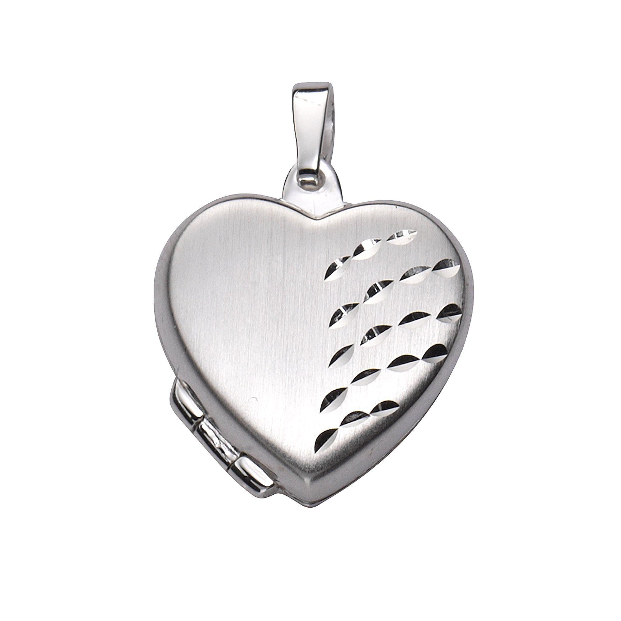 Zeeme Anhänger 925/- Sterling Silber Herz Medaillon | Schmuck > Halsketten > Herzketten | Weiß | Stein | Zeeme