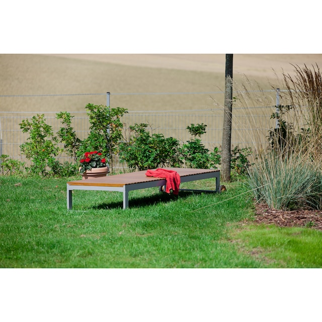 MERXX Gartenliege »Naxos«, Eukalyptus/Textil, verstellbar, grau