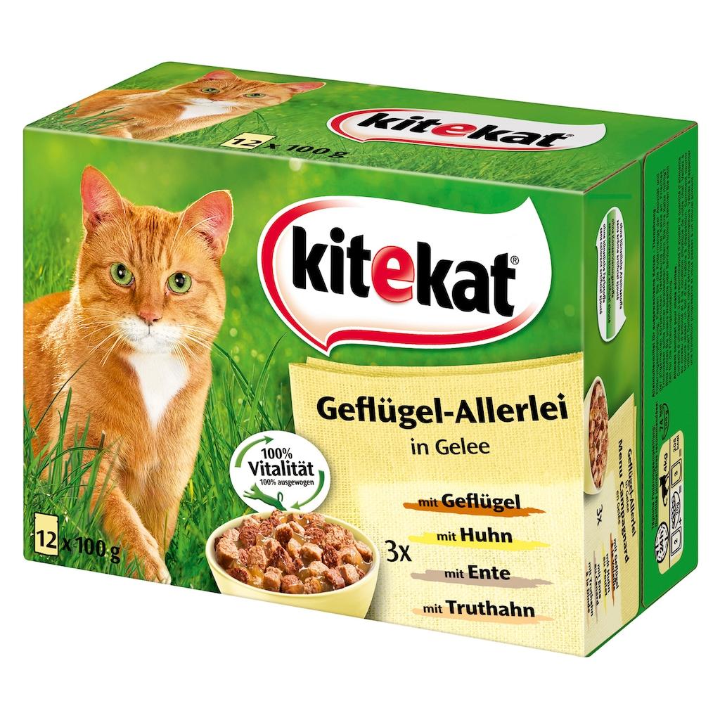 Kitekat Set: Katzennassfutter »Geflügel-Allerlei«, 4 Pakete mit je 12 Beuteln á 100 g