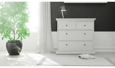 Home affaire Kommode »Paris«, mit vier Schubladen, im romantischen Landhaus-Stil, aus schönem Holzfurnier, Breite 96,2 cm kaufen