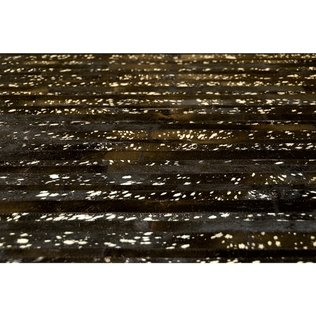 Trendline Fellteppich »Hollywood«, rechteckig, 3 mm Höhe, Patchwork, handgenäht, echtes Rinderfell, mit silberfarbenen Akzenten, Wohnzimmer