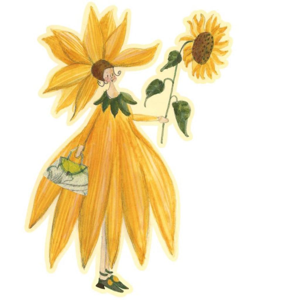 Wall-Art Wandtattoo »Gelbe Sonnenblumen Fee Mädchen«