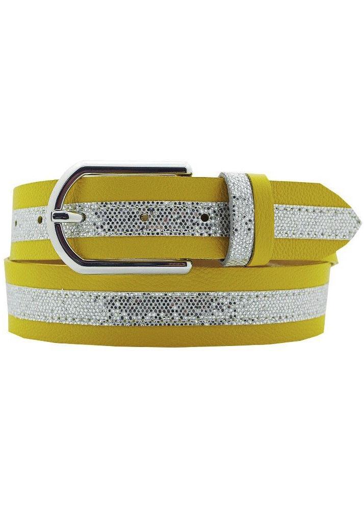 AnnaMatoni Ledergürtel, Mittig mit Glitterstreifen gelb Damen Ledergürtel Gürtel Accessoires
