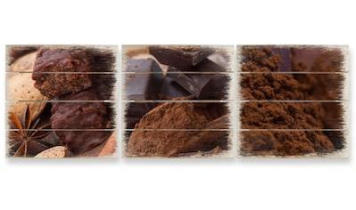 Wall-Art Mehrteilige Bilder »Holzbilder dunkle Schokolade«, (Set, 3 St.) kaufen