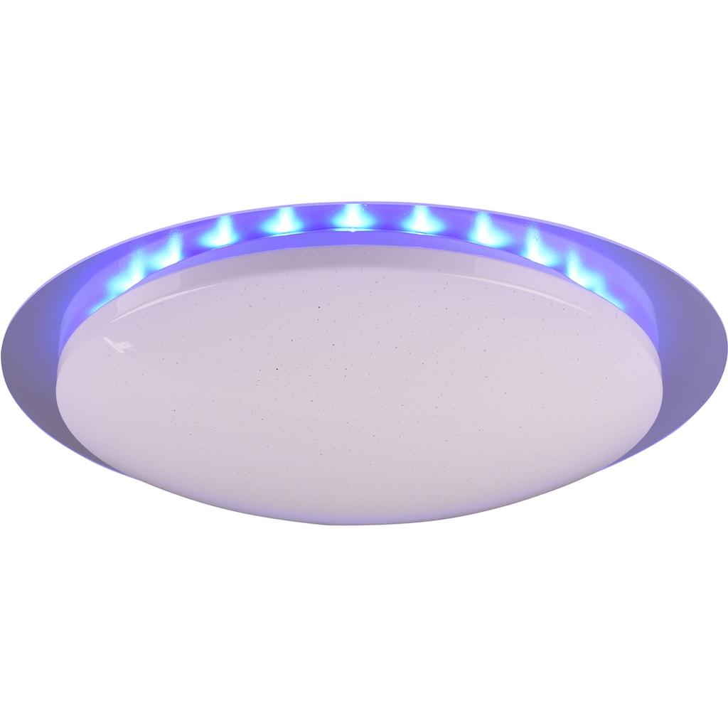 TRIO Leuchten LED Deckenleuchte »Joleen«, LED-Board, 1 St., Farbwechsler, Deckenlampe Ø 48 cm mit RGB Backlight, Hauptlicht mit Starlight-Effekt und Farbtemperaturstuerung von 2700 – 5500K, inkl. Fernbedienung & Dimmfunktion