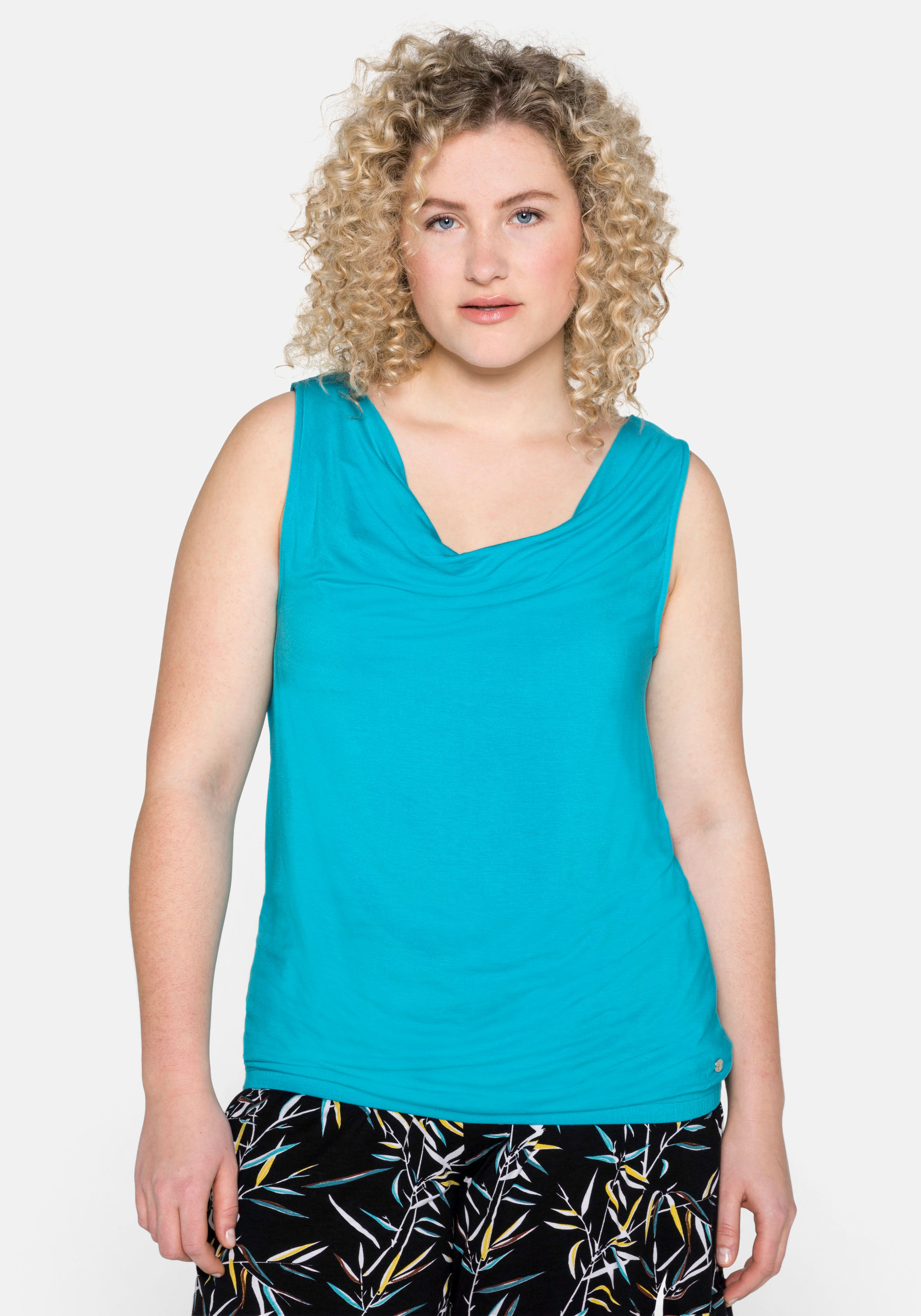 Sheego Spitzentop, mit elastischem Saum blau Damen Spitzentops Tops Spitzentop