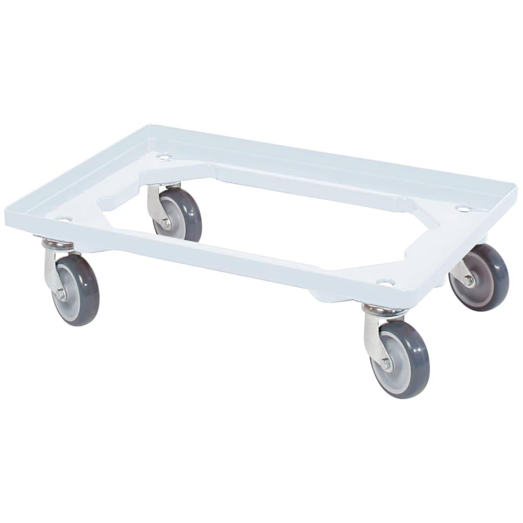 Transportroller, BxT: 60x40 cm, weiß 4 Lenkrollen, graue Gummiräder