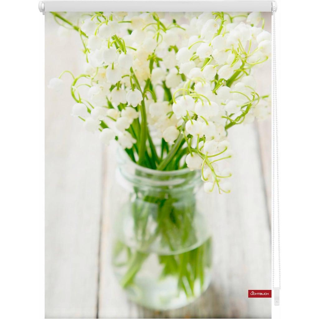 LICHTBLICK ORIGINAL Seitenzugrollo »Klemmfix Motiv Maiglöckchen«, Lichtschutz, ohne Bohren, freihängend, bedruckt