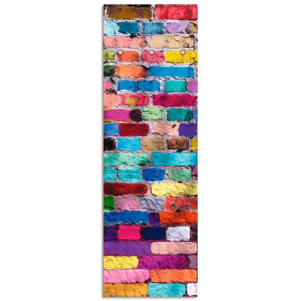 Artland Garderobe »Bunte Mauer«, platzsparende Wandgarderobe aus Holz mit 3 Haken, geeignet für kleinen, schmalen Flur, Flurgarderobe