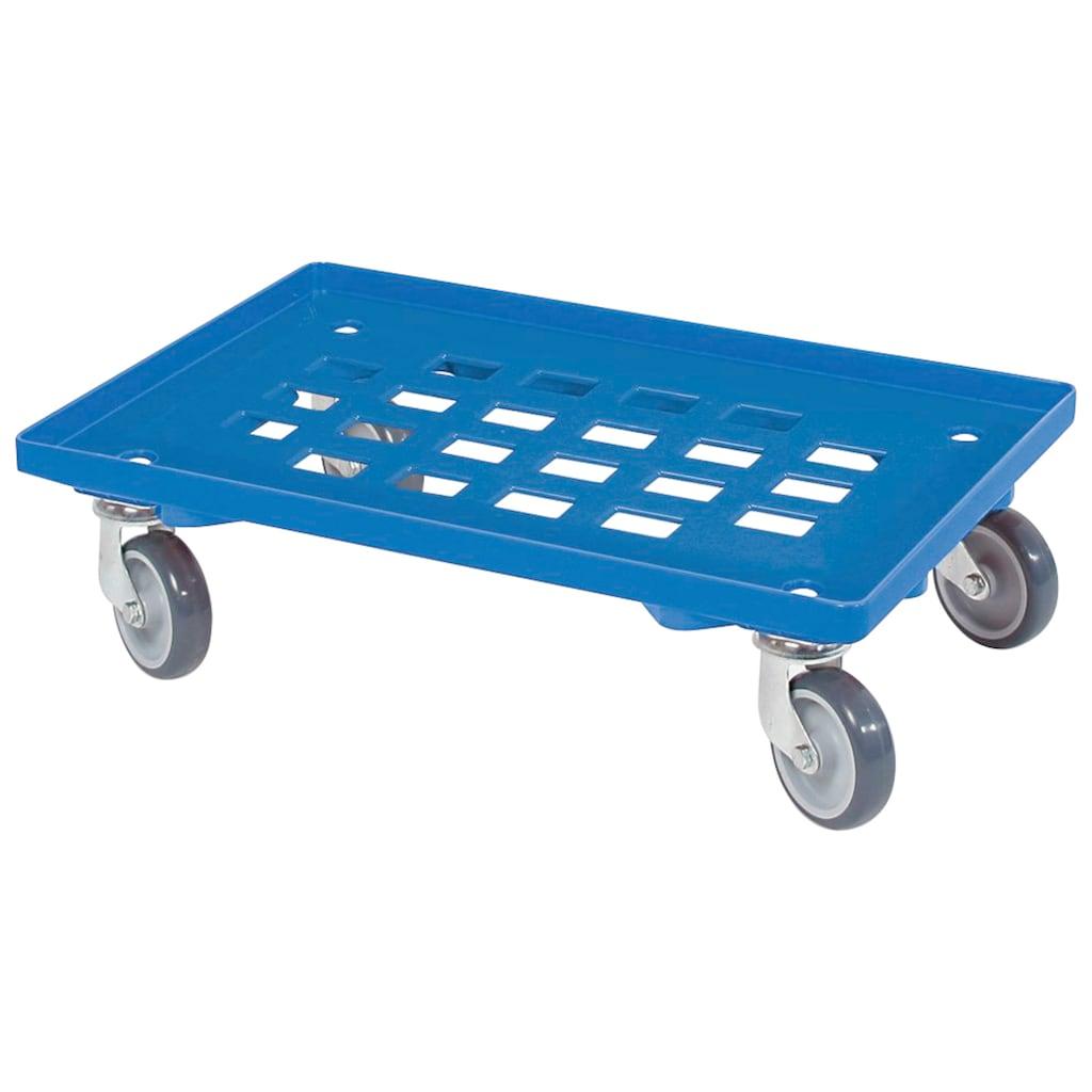 Transportroller, BxT: 60x40 cm, mit 4 Lenkrollen und grauen Gummirädern, Tragkraft 250 kg, blau