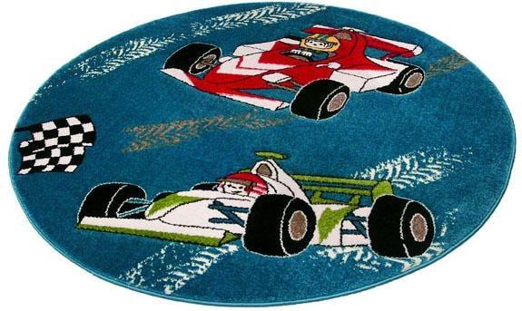 Festival Kinderteppich Momo Rennen, rund, 13 mm Höhe, Auto, Rennwagen Motiv blau Kinder Kinderteppiche mit Teppiche