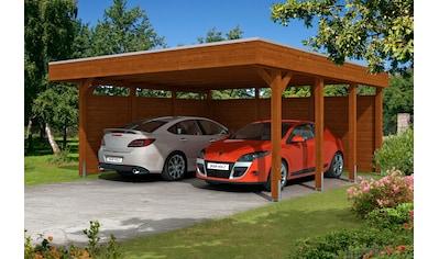 Skanholz Doppelcarport »Friesland 3«, Holz, 514 cm, braun, mit Seiten- und Rückwänden kaufen