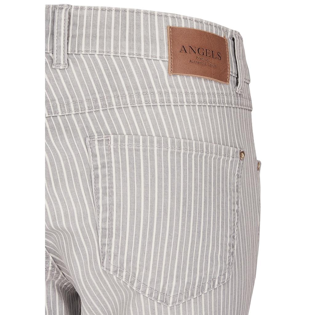 ANGELS Skinny-fit-Jeans, 'Skinny Ankle Zip' mit gestreiftem Allover-Muster