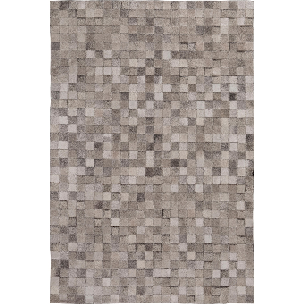 LUXOR living Fellteppich »Rinderfell Karo«, rechteckig, 3 mm Höhe, Patchwork, handgenäht, echtes Rinderfell, Wohnzimmer