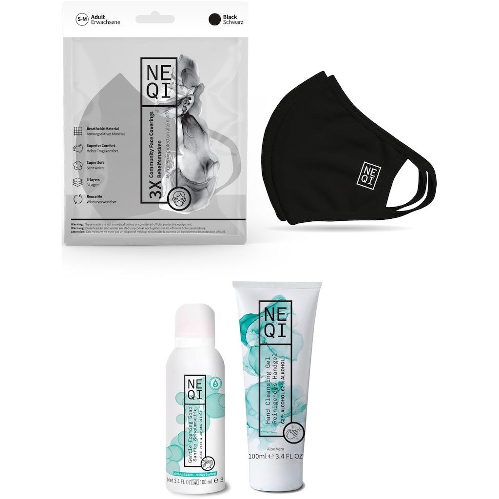 NEQI Mund-Nasen-Maske, inkl. feuchtigkeitsspendende Handseife und Handreinigungsgel