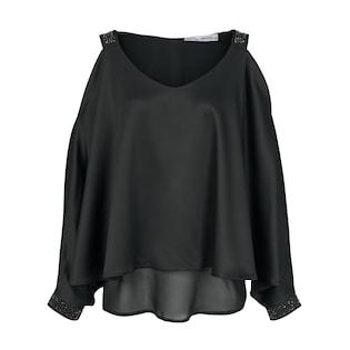 e86a60676bd17 heine STYLE kragenlose Bluse mit verlängertem Rückteil bei BAUR