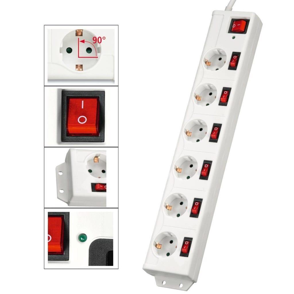 Hama Mehrfachsteckdose 6-fach Steckerleiste, mit Schalter