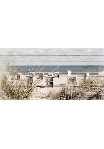 QUEENCE Holzbild »Strandkörbe - Strand«, 40x80 cm Echtholz kaufen