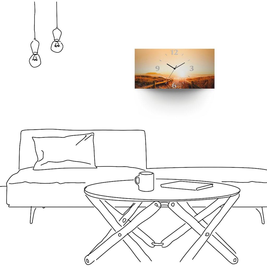 Artland Wanduhr »Sonnenuntergang Panorama Strand«, 3D Optik gebogen, lautlos, ohne Tickgeräusche, nicht tickend, geräuschlos - wählbar: Funkuhr o. Quarzuhr, moderne Uhr für Wohnzimmer, Küche etc. - Stil: modern