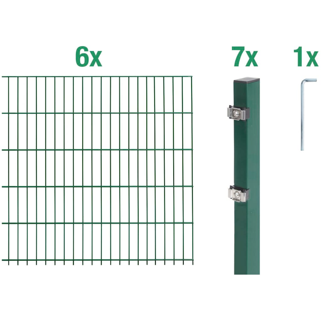 GAH Alberts Doppelstabmattenzaun, 100 cm hoch, 6 Matten für 12 m, 7 Pfosten