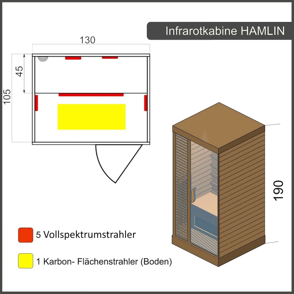 Dewello Infrarotkabine »Hamlin Vollspektrum«, für bis zu 2 Personen