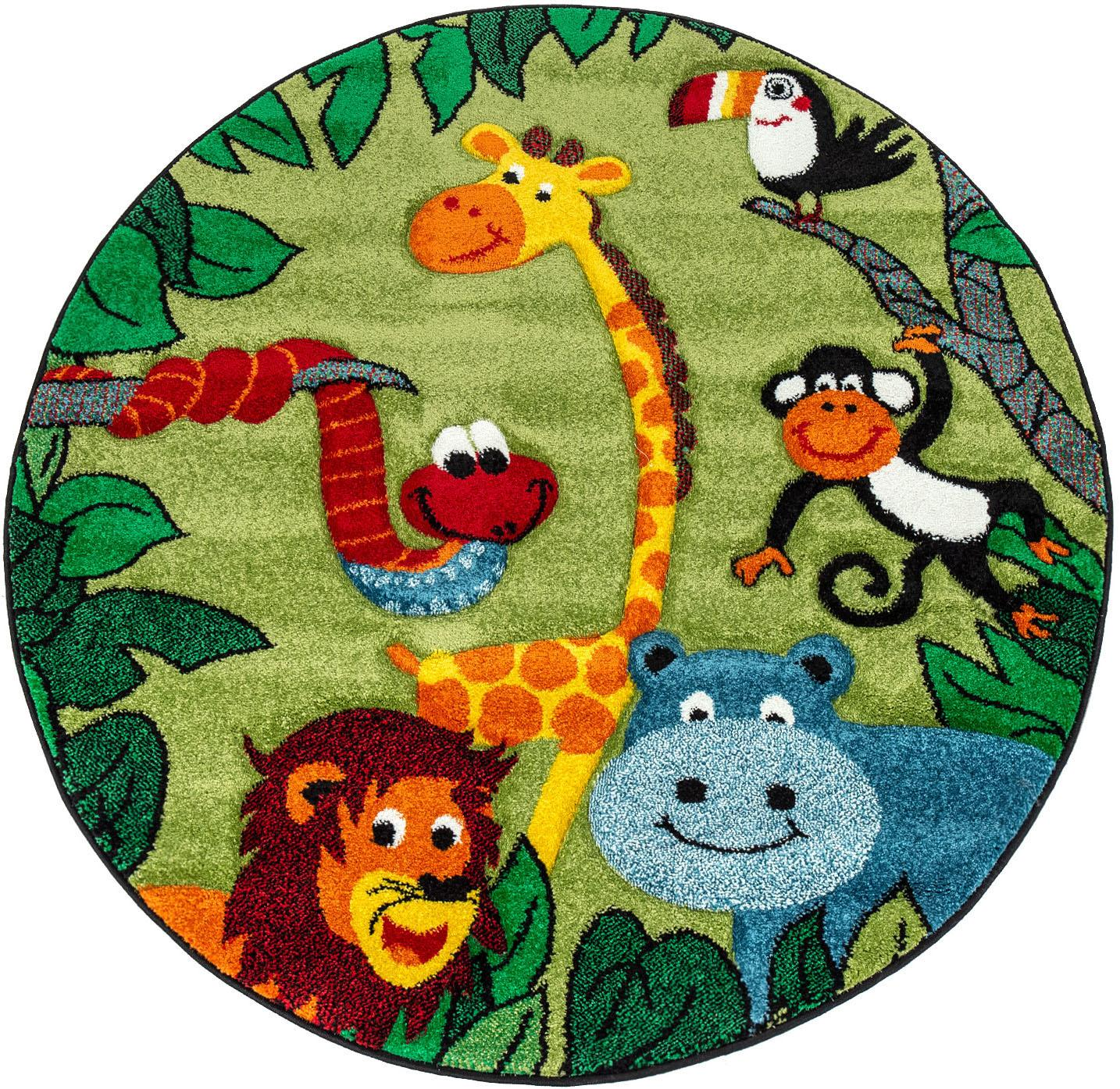 Paco Home Kinderteppich Diamond 638, rund, 18 mm Höhe, Kurzflor, 3D-Design Dschungel Tiere, Kinderzimmer grün Kinder Bunte Kinderteppiche Teppiche
