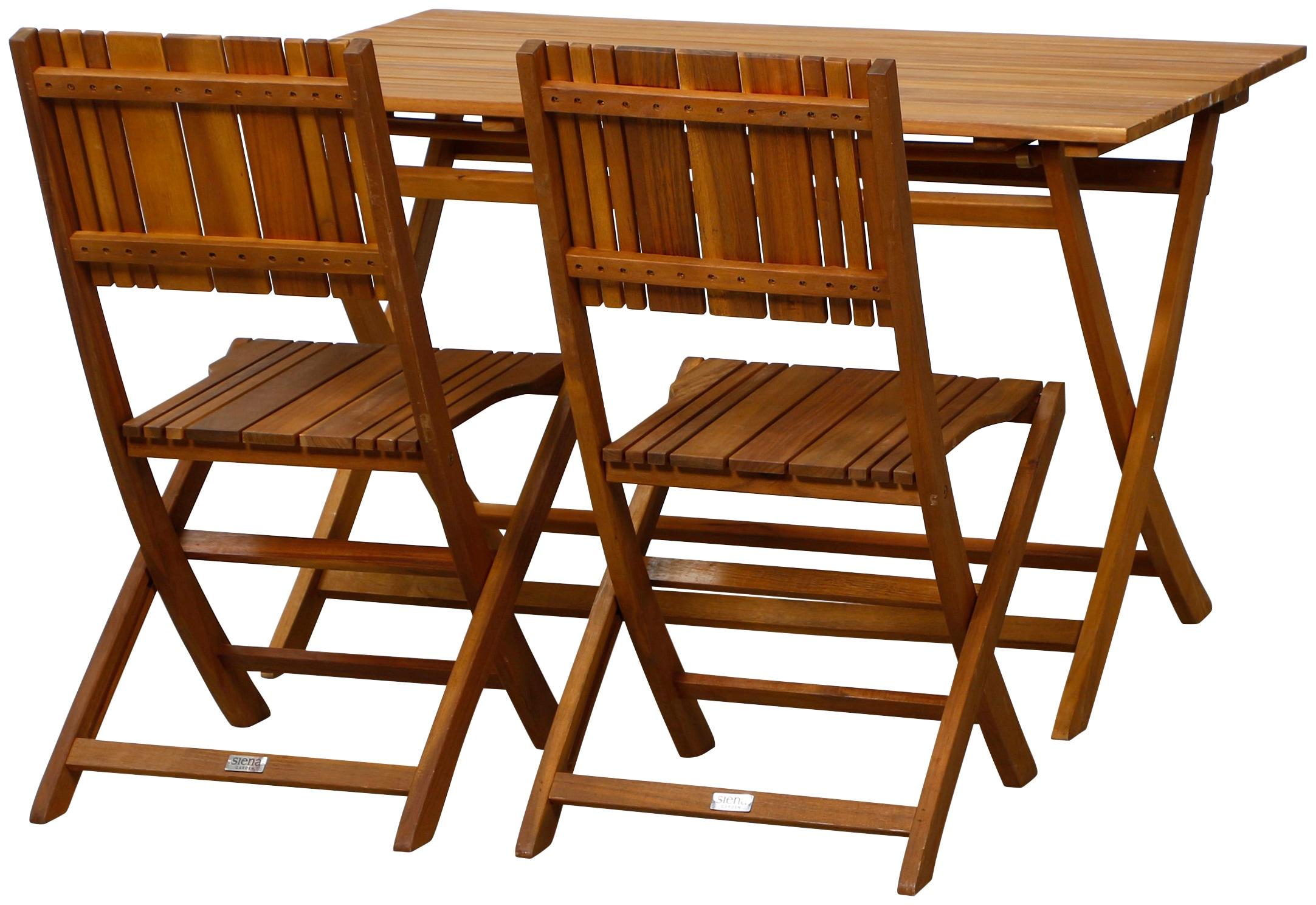 SIENA GARDEN Gartenmöbelset Falun 5tlg 4 Stuhl Tisch 120x80 cm Stahl/Akazienholz