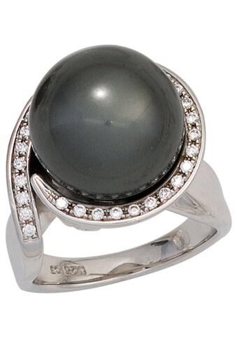 JOBO Perlenring, 925 Silber mit synthetischer Perle und Zirkonia kaufen