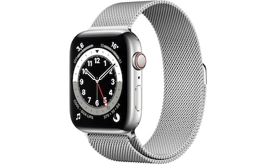Apple Watch »Series 6 GPS + Cellular, Edelstahlgehäuse mit Milanaise Armband 44mm«,... kaufen