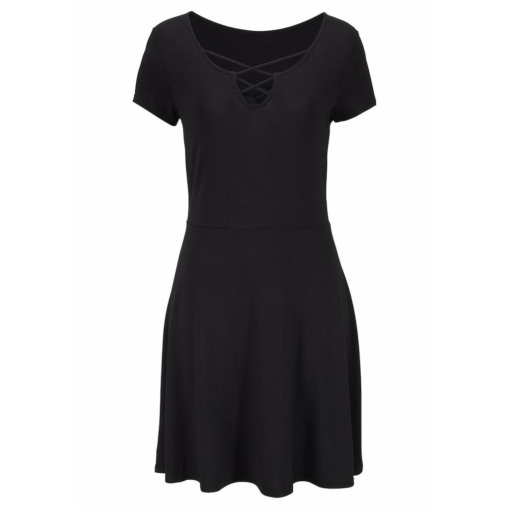 LASCANA Sommerkleid, mit Zierbändern am Ausschnitt
