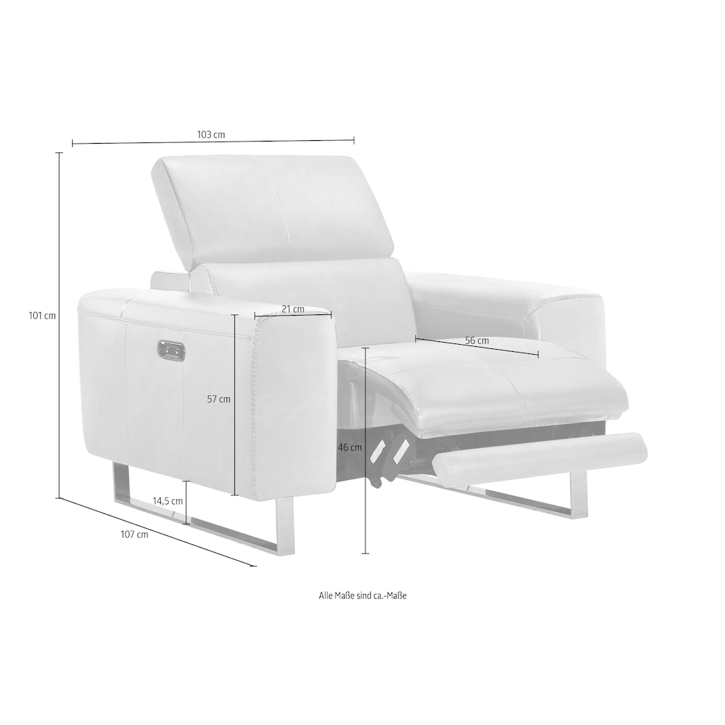 Places of Style Sessel, mit elektrischer Relaxfunktion und manueller Kopfteilverstellung