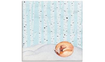 Artland Glasbild »Winter Wunderland Schlafender Fuchs« kaufen