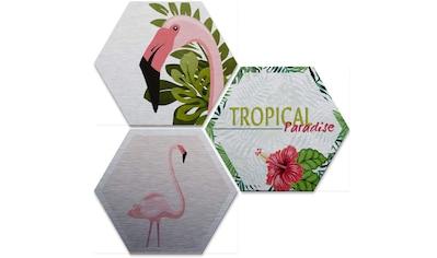 Wall-Art Mehrteilige Bilder »Silbereffekt Flamingo Set«, (Set, 3 St.) kaufen