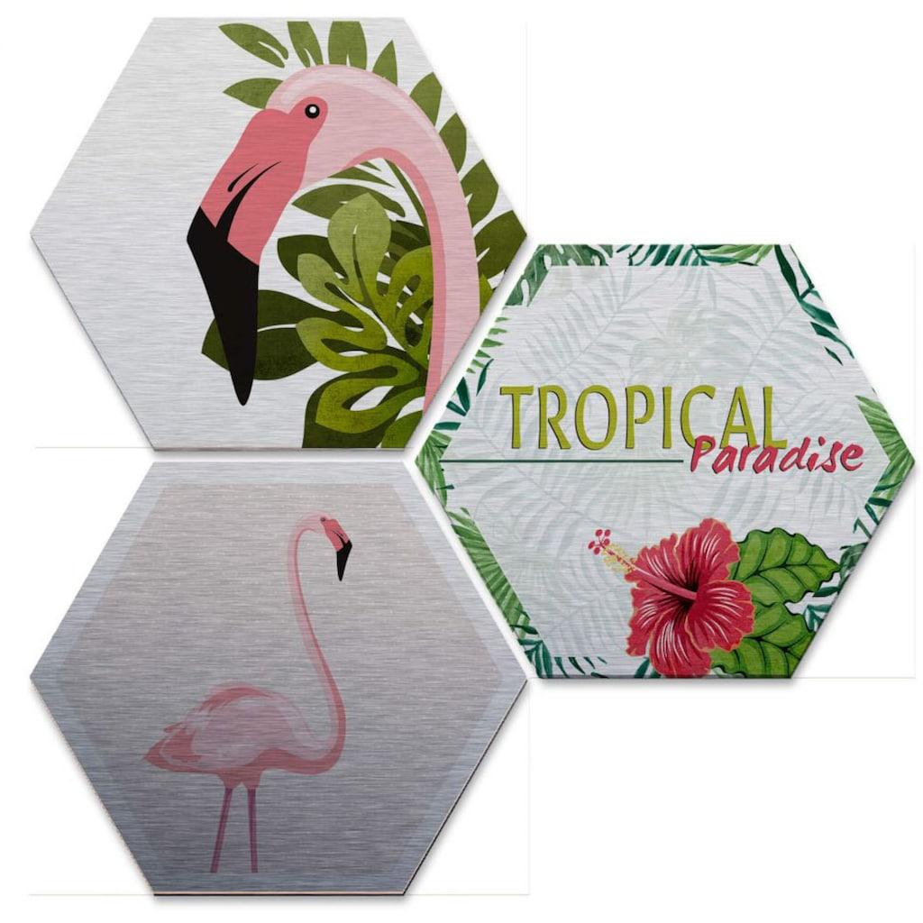 Wall-Art Mehrteilige Bilder »Silbereffekt Flamingo Set«, (Set, 3 St.)