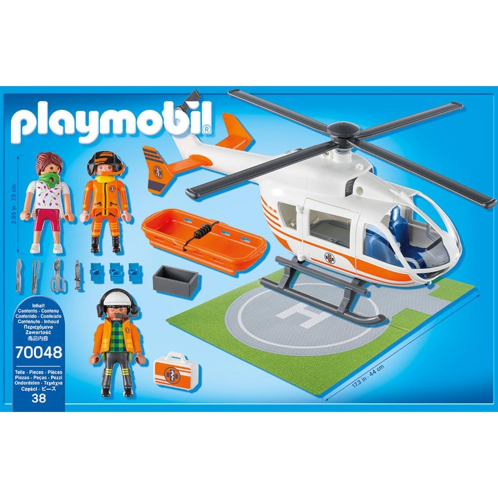 Playmobil® Konstruktions-Spielset »Rettungshelikopter (70048), City Life«, Made in Germany