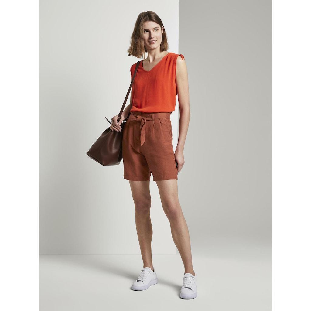 TOM TAILOR Paperbag-Hose »Paperbag-Shorts aus Leinengemisch«