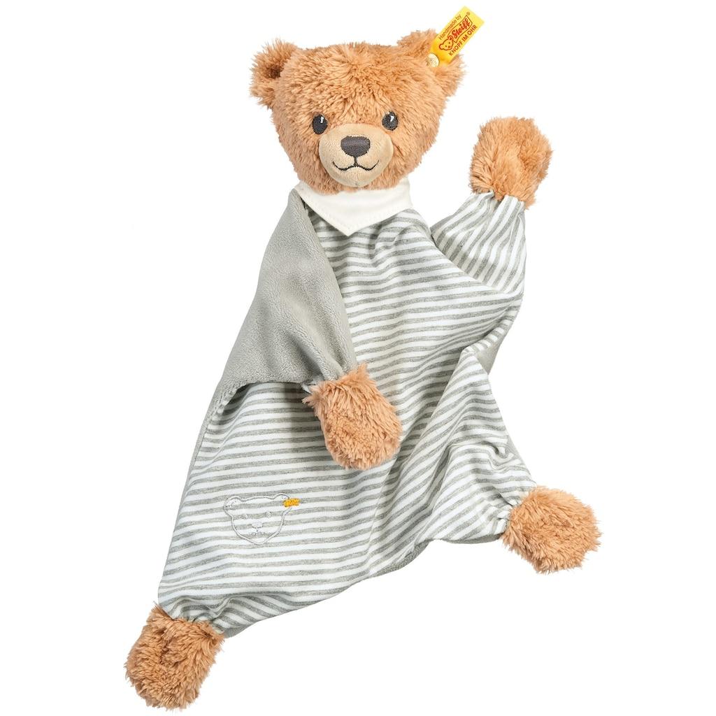 Steiff Schmusetuch »Schlaf-gut-Bär Schmusetuch, grau/weiß«, mit gestickten Augen und »Knopf im Ohr«