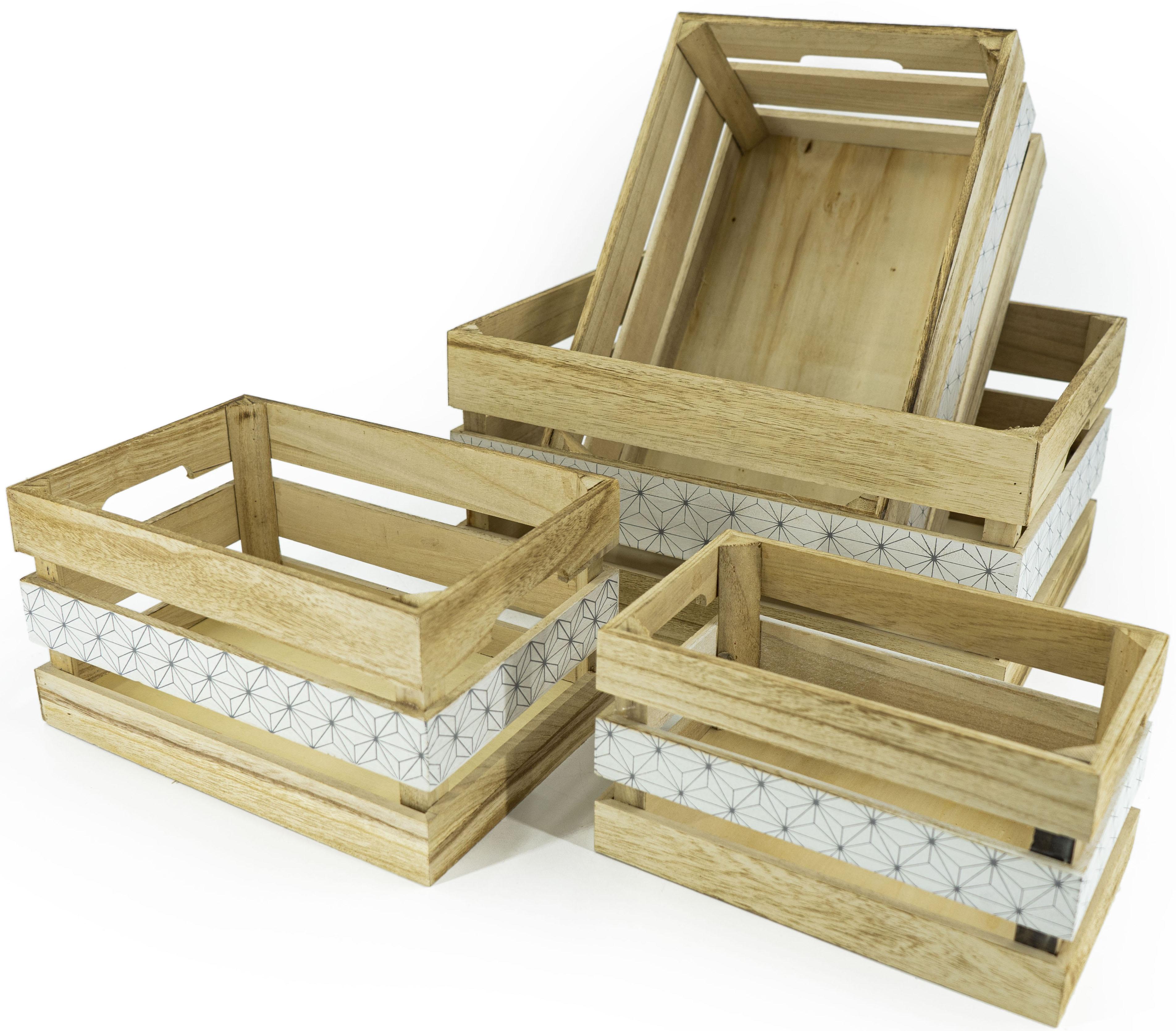 NOOR LIVING Aufbewahrungsbox Aufbewahrungsboxen-Set 4-tlg., natur, mittig schwarz bedruckt, (Set, 4 St.) beige Kleideraufbewahrung Aufbewahrung Ordnung Wohnaccessoires