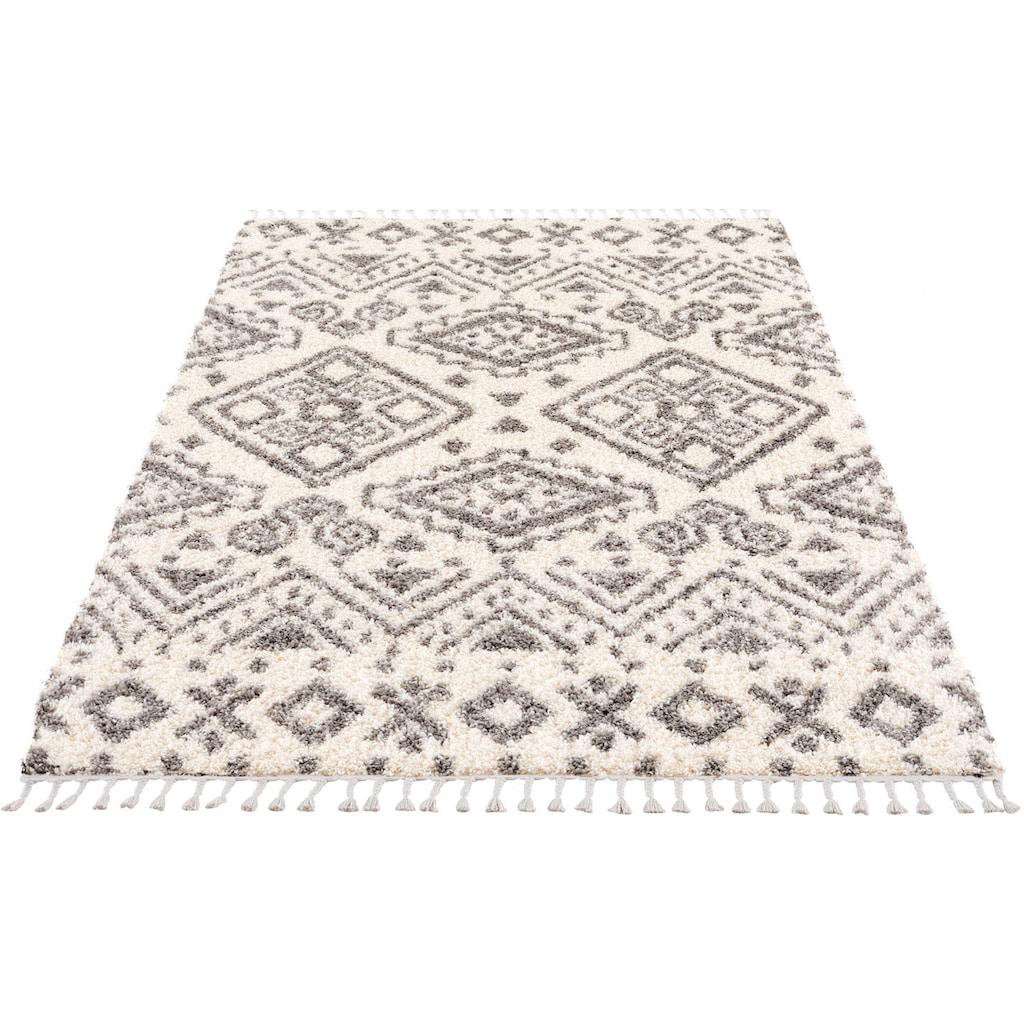 Carpet City Hochflor-Teppich »Pulpy 541«, rechteckig, 30 mm Höhe, mit Fransen, Wohnzimmer